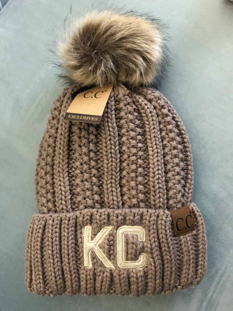 KC Fleece Lined C.C. Pom Beanie : Mocha