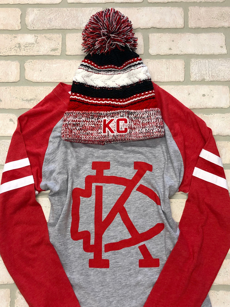 Multi Color KC Pom Stocking Cap : Red White Black