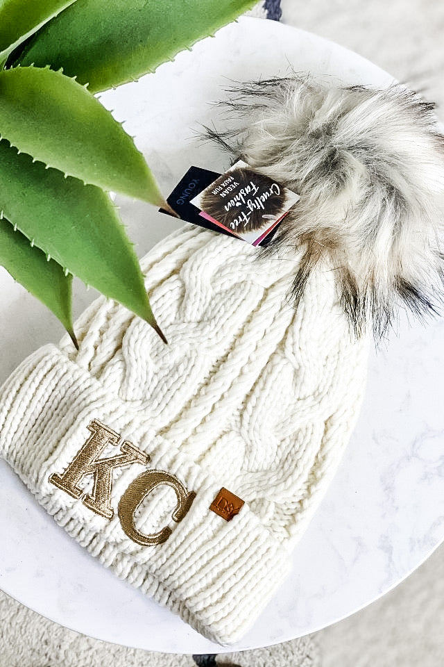 KC D&Y Fur Lined Knit Beanie With Pom : Gold/Ivory