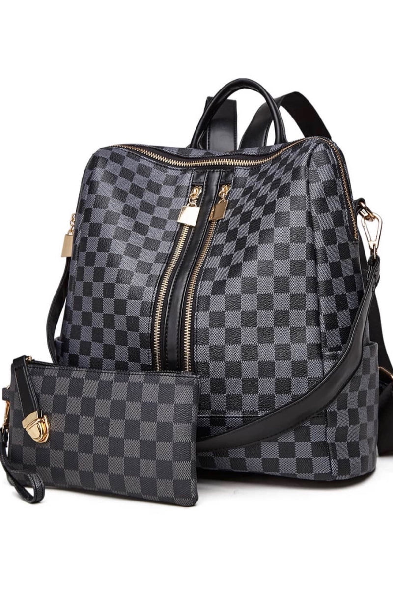Ready To Go Double Zip Up Plaid Backpack & Wristlet : Grey/Black