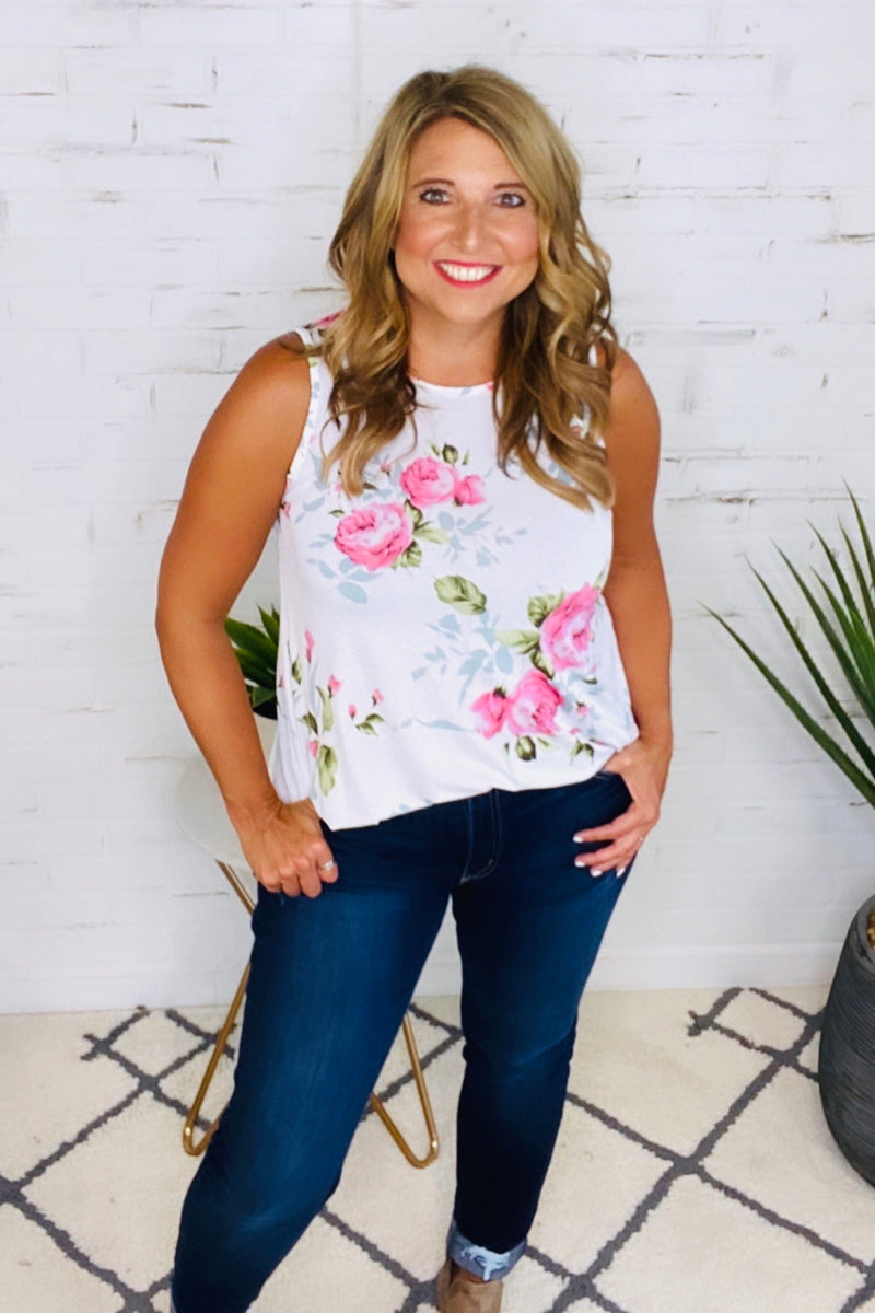 Sweet On Summer Floral Top : Ivory