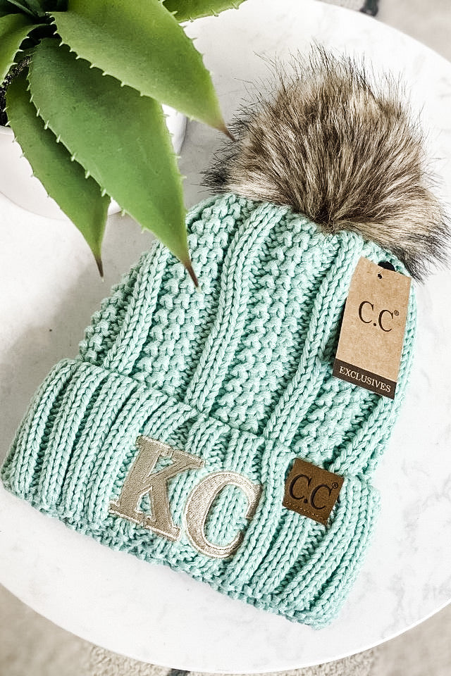 KC CC Beanie Fur Lined With Pom : Mint