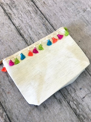 * Remi Tassel Zip Accessory Bag : Ivory