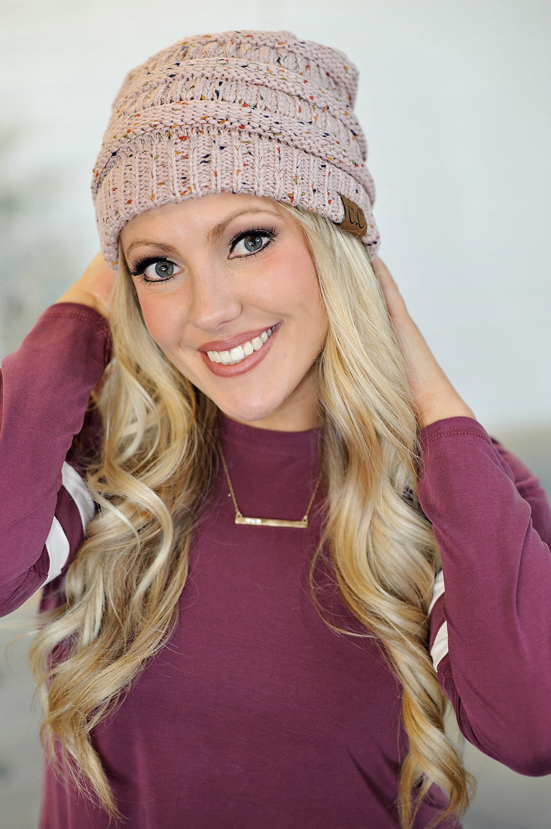 * CC Beanie: Speckled pink confetti