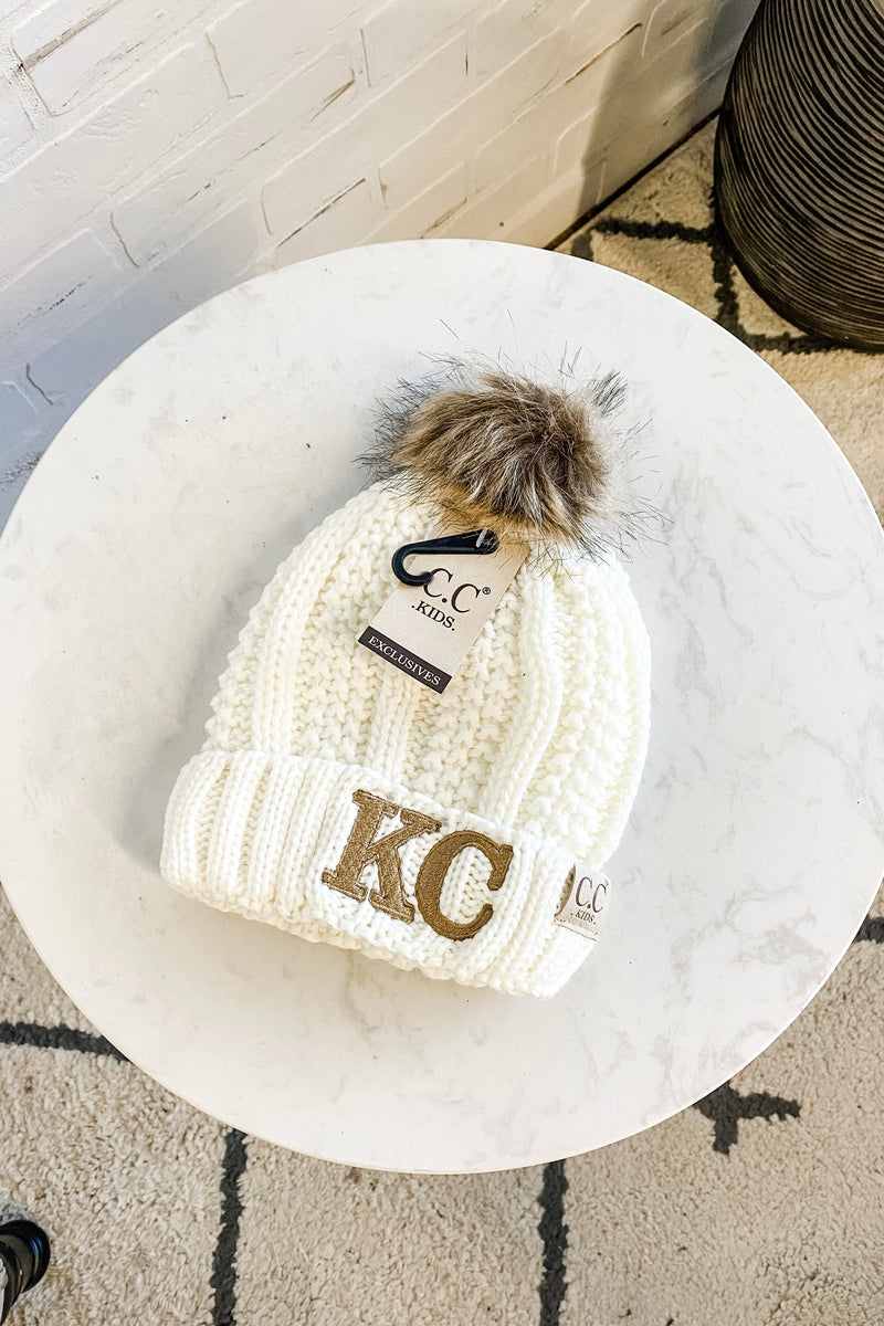 KC Kids CC Beanie (Fleeced Lined) With Pom : Ivory