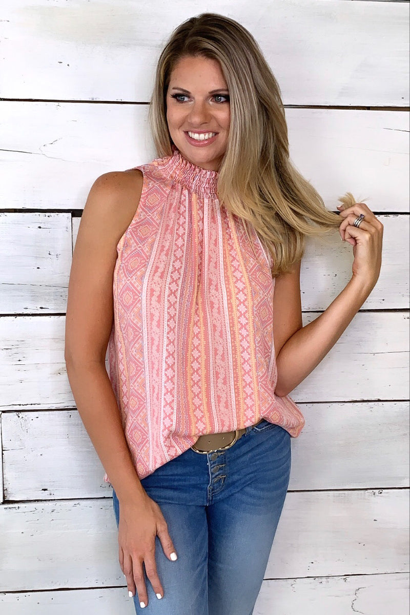 Far And Away Aztec Print Top : Pink