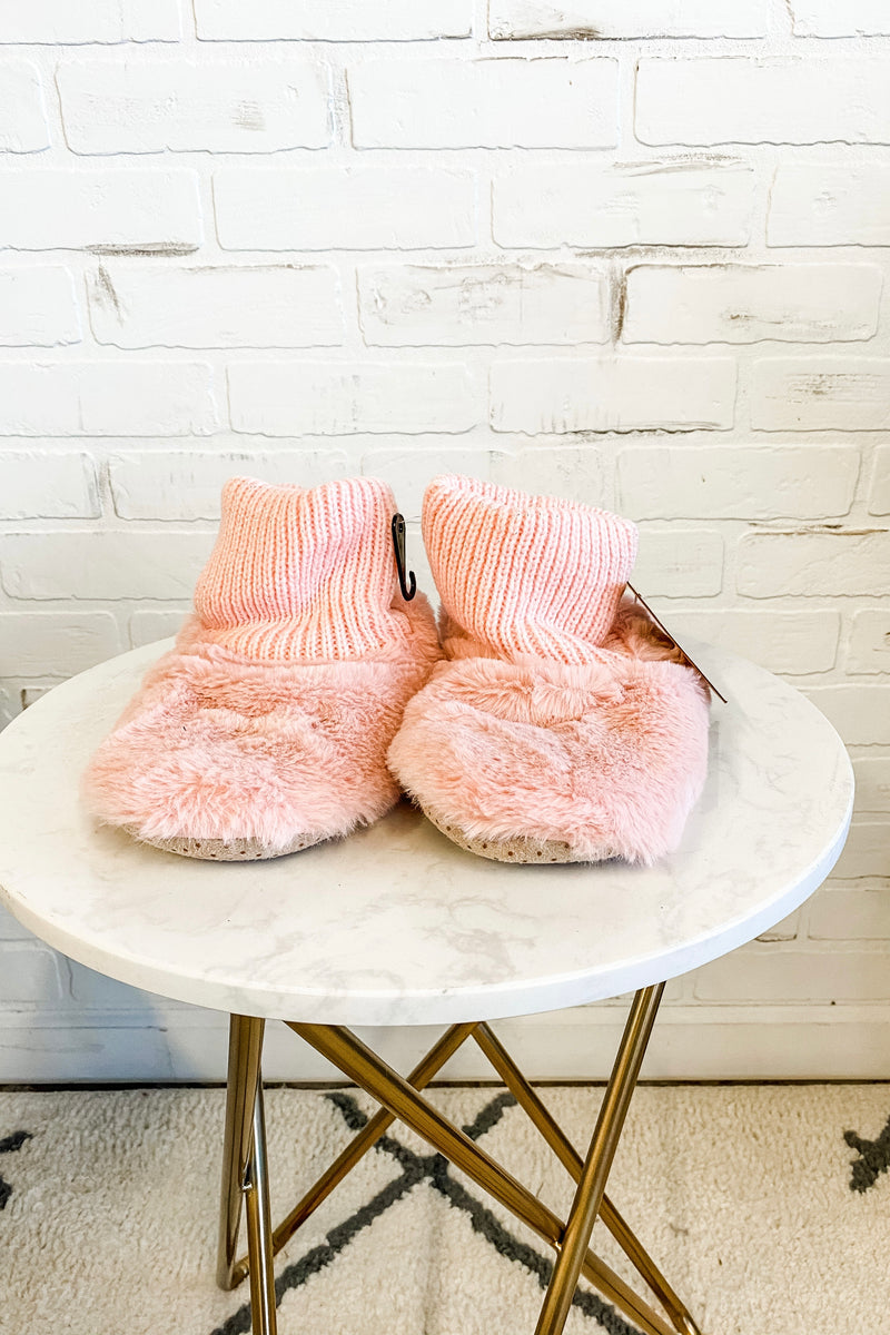 Plush Faux Fur Slipper Bootie : Pink