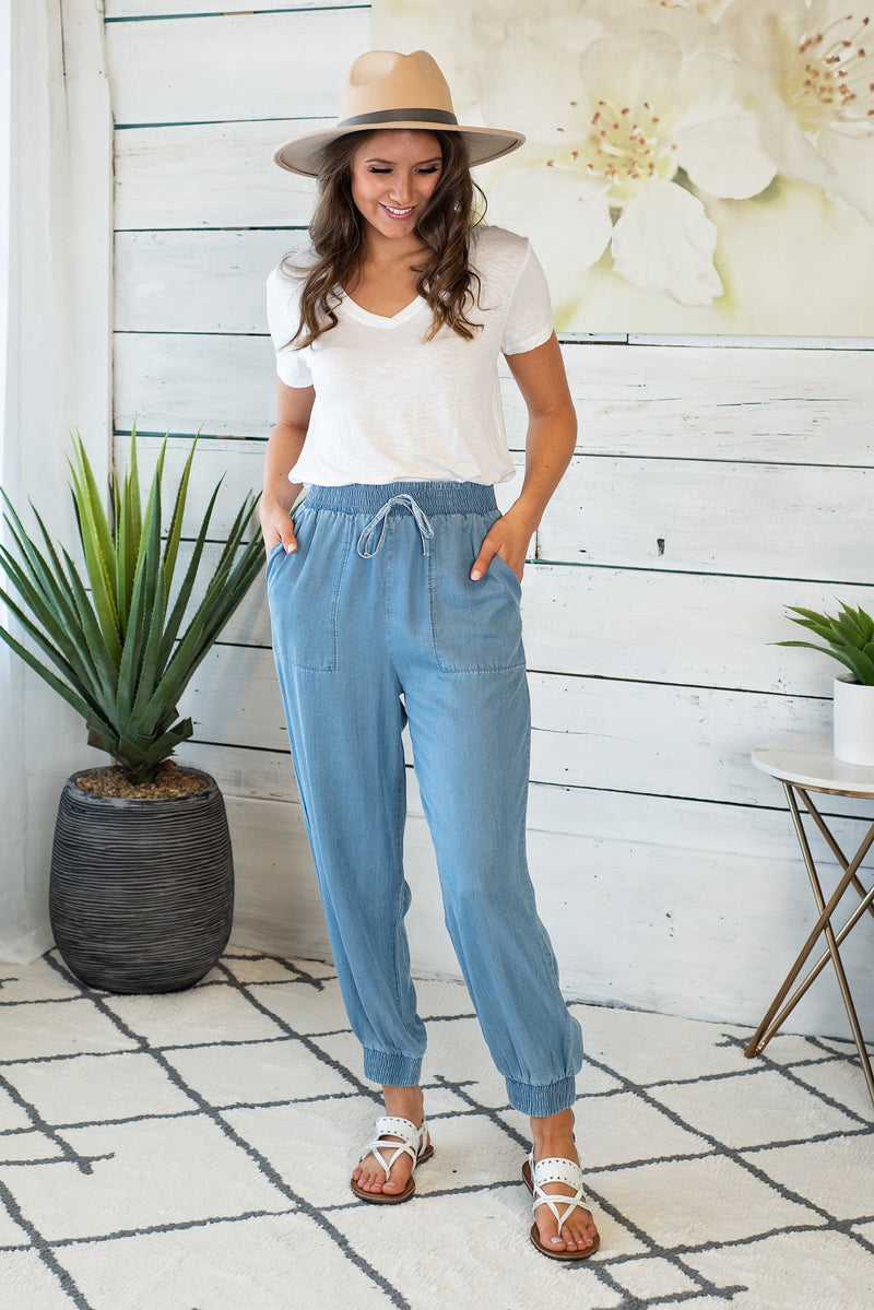 Chic As Ever Easy Wear Pants : Denim Blue