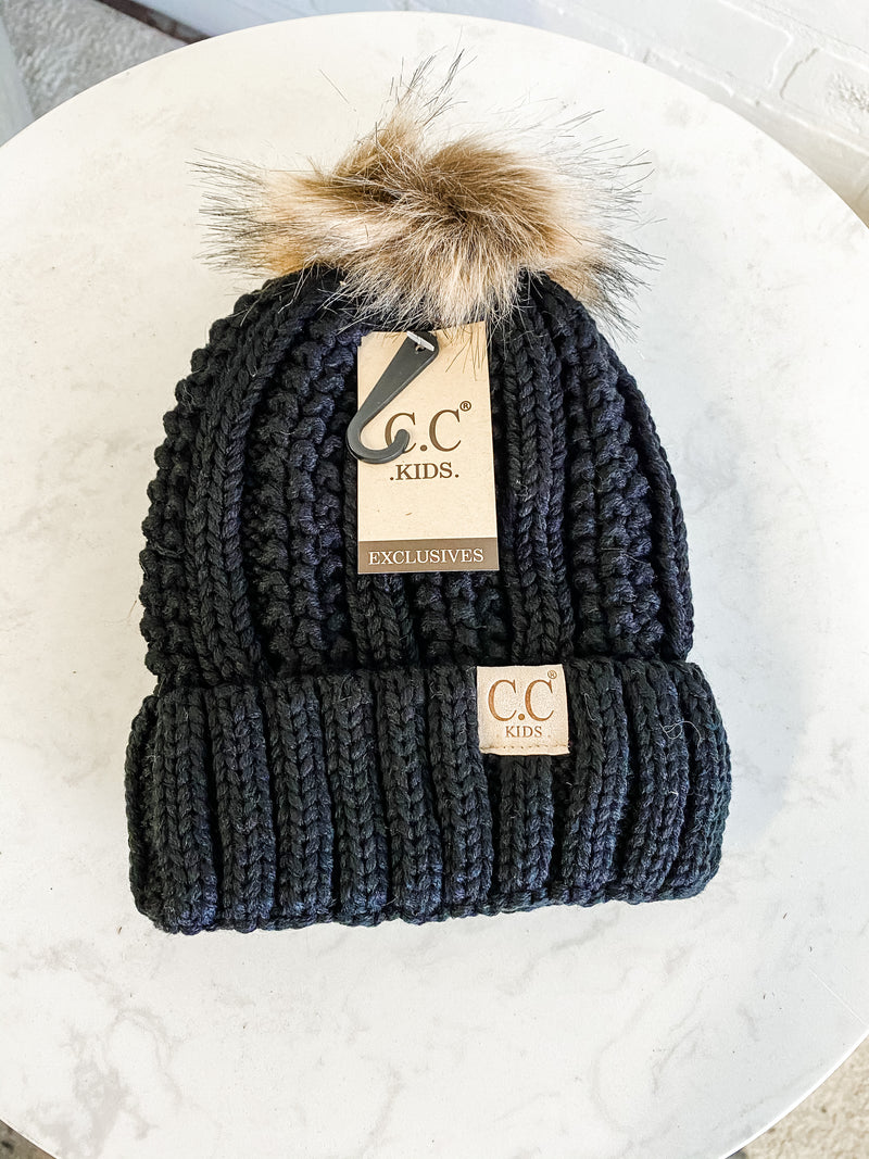 Kids CC Beanie (Fleeced Lined) With Pom : Black
