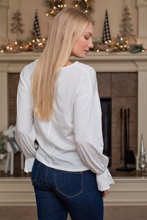 Classy & Cute Bell Cuff Long Sleeve Top : Off White