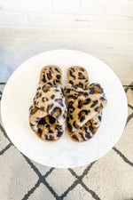 Plush Leopard Slipper : Brown