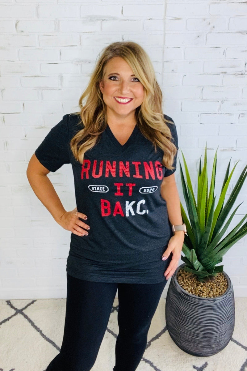 Running It Back Graphic Tee : Charcoal