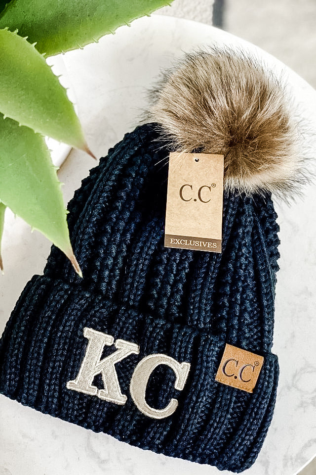 KC CC Beanie Fur Lined With Pom : Black