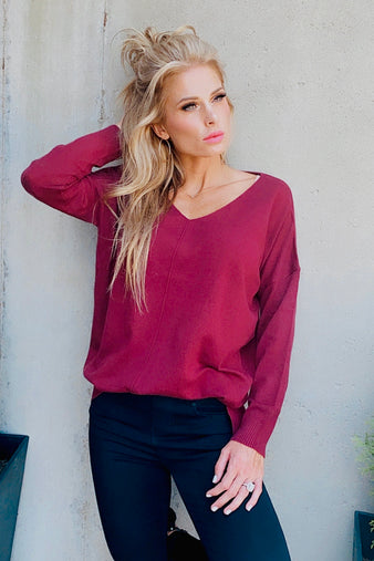 Make Time For You V Neck Sweater : Wine