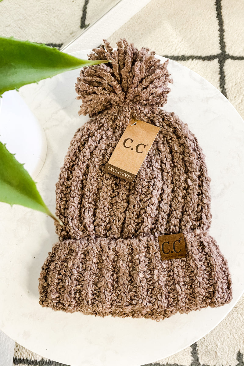 C.C Chenille Pom Beanie Hat : Taupe