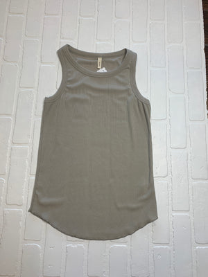 * Shine All Day Ribbed Tanks: Taupe