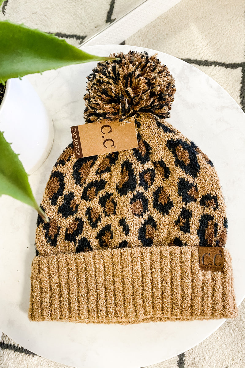CC Beanie Leopard With Pom : Latte