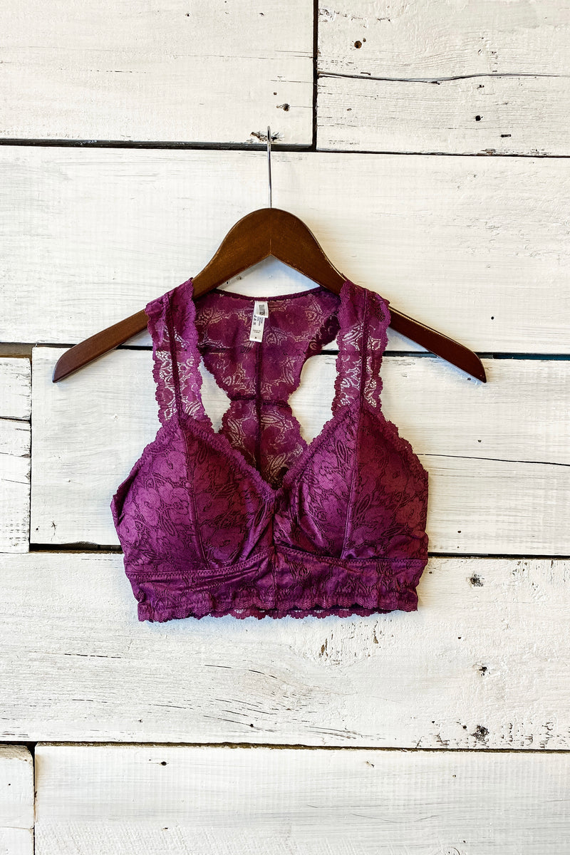 Victoria Lace Padded Bralette : Eggplant