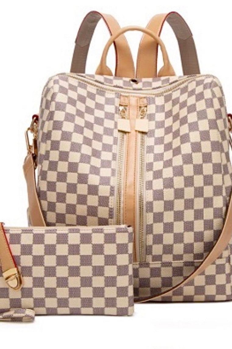 Ready To Go Double Zip Up Plaid Backpack & Wristlet : Ivory