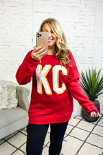 Flint & Field KC Block Crewneck Sweatshirt : Red