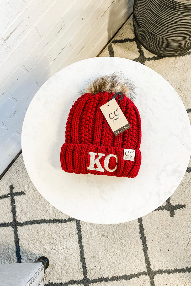 KC Kids CC Beanie (Fleeced Lined) With Pom : Red