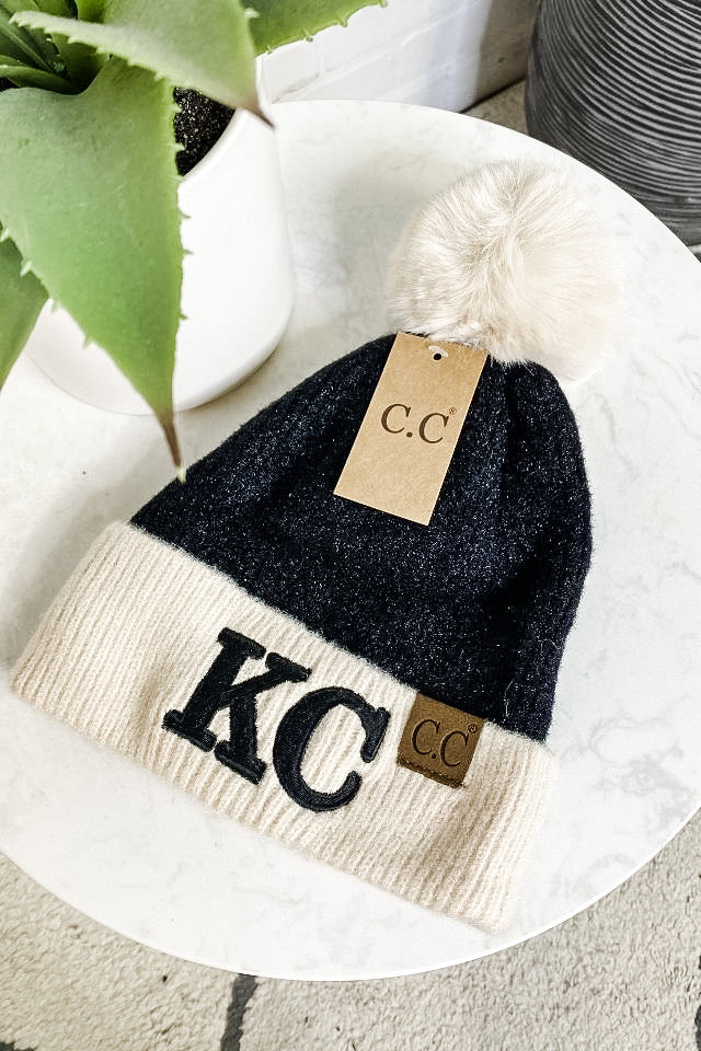 KC CC Beanie Color Block With Pom : Blk/Cream