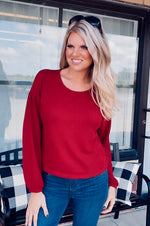 Modern Days Waffle Knit Top : Maroon