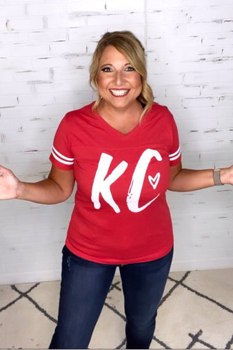 KC Heart Women's Fit Short Sleeve Tee : Red/White
