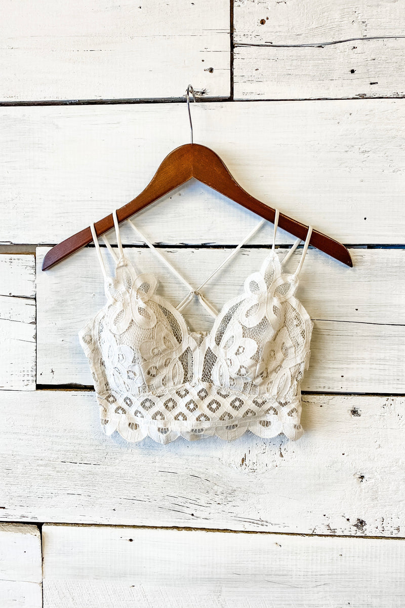 Desiree Crochet Lace Bralette : Off White
