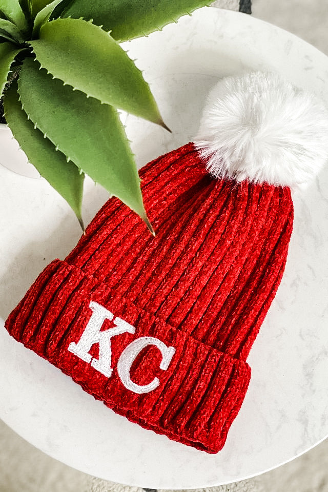 KC Santa Baby Beanie With Pom : Red
