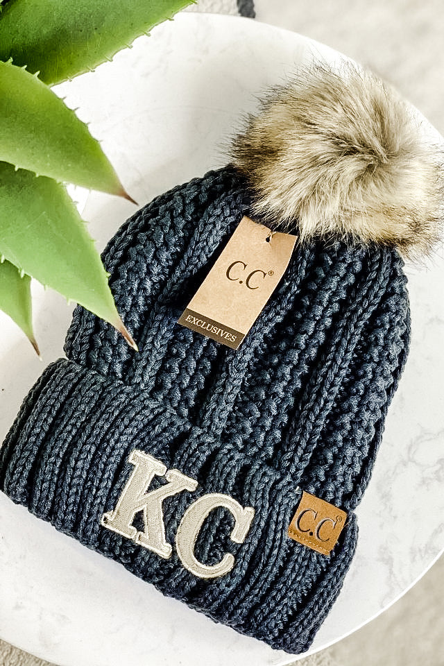 KC CC Beanie Fur Lined With Pom : Grey