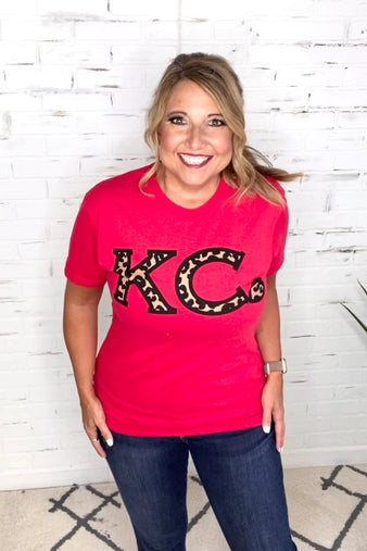 KC Heart Leopard Tee : Red