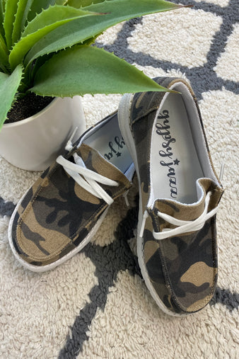 Gypsy Jazz Horray Slip On Boat Style Shoes : Camo