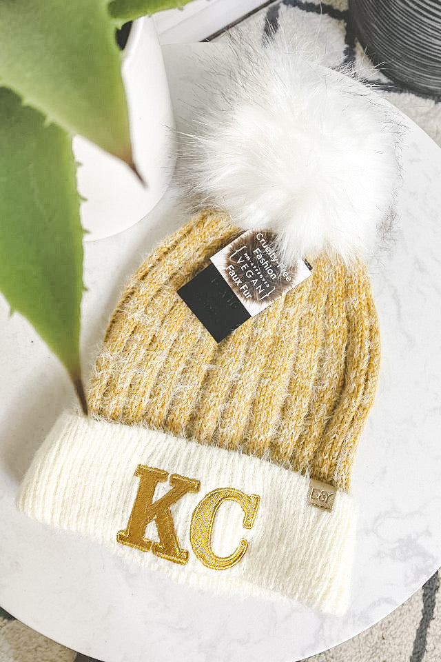 KC D&Y Color Block Beanie With Pom : Mustard