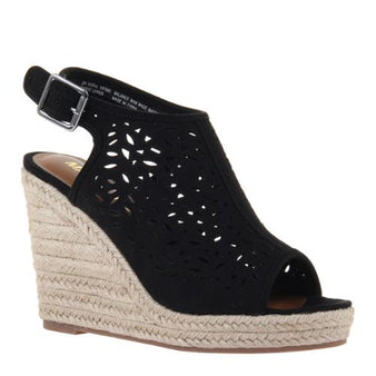 Verve Open Toe Wedge:Black