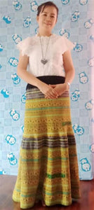 Hill Tribe Cross Stitch Skirt Pieces-Gold, Brown and Green