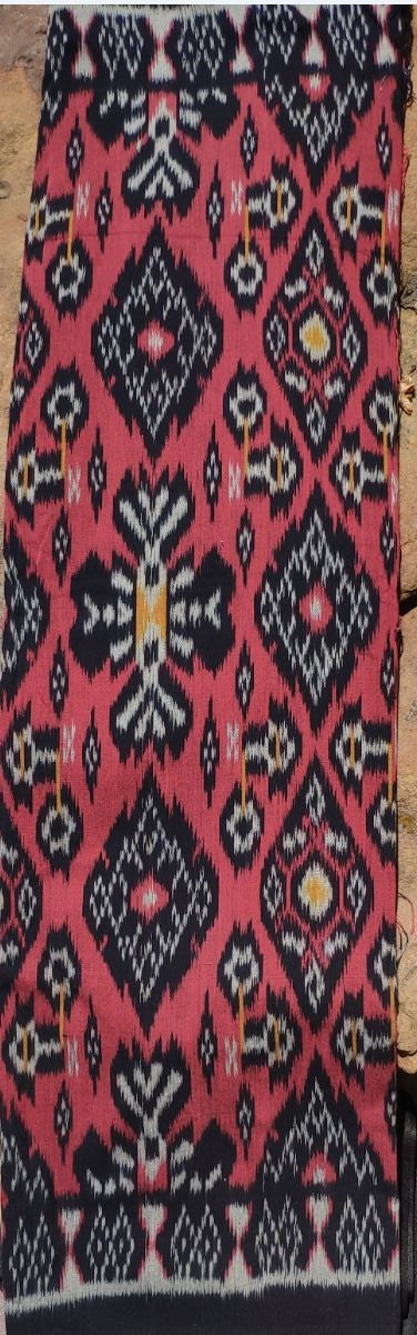 Bali Ikat #3 Red, Black and Silver