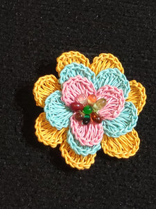 Pins Made by Hand Crochet with Beads
