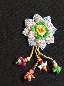 Pins Made by Hand Crochet with Hanging Beads