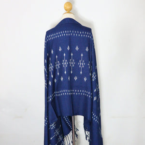 Indigo Ikat Shawl-03931 Blue and White-6986