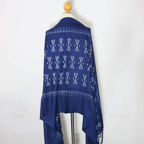 Indigo Ikat Shawl-03931 Blue and White-6988