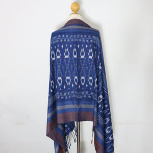 Indigo Ikat Shawl-03933 Blue and Brown-7003