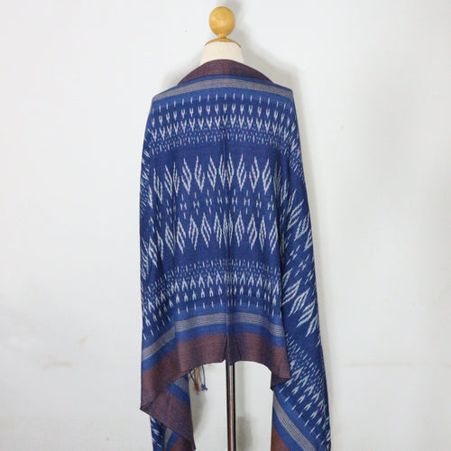 Indigo Ikat Shawl-03933 Blue and Brown-7005
