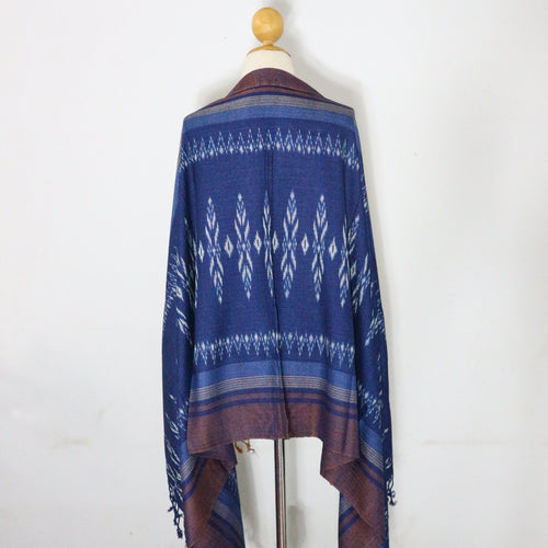 Indigo Ikat Shawl-03933 Blue and Brown-7006
