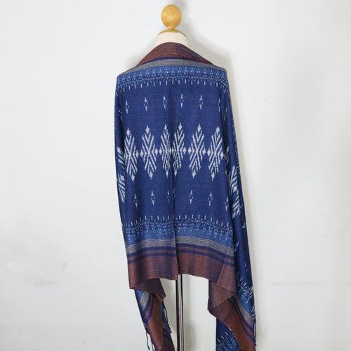 Indigo Ikat Shawl-03933 Blue and Brown-7010