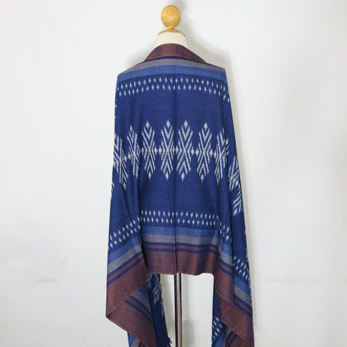 Indigo Ikat Shawl-03933 Blue and Brown-7011