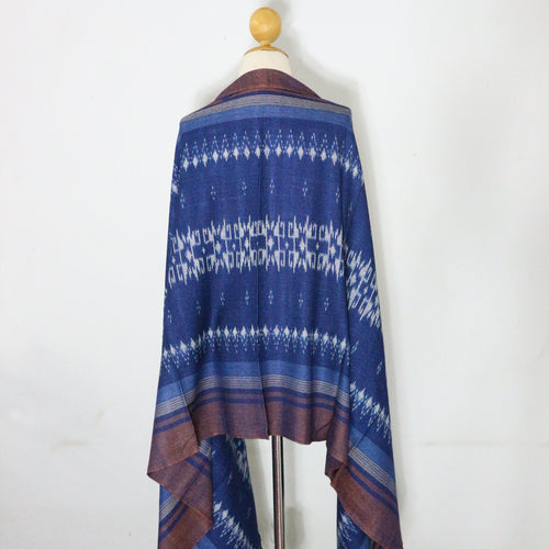 Indigo Ikat Shawl-03933 Blue and Brown-7012