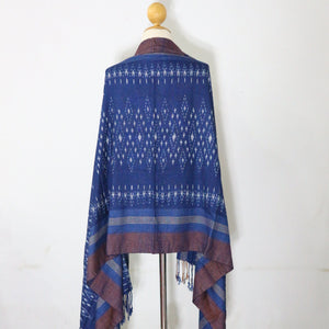 Indigo Ikat Shawl-03933 Blue and Brown-7024