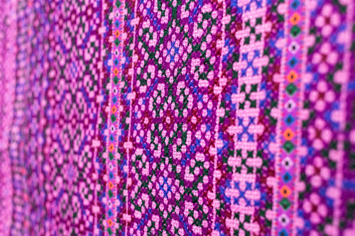 Hill Tribe Cross Stitch Skirt Pieces-Pink and Purple