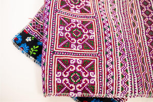 Hill Tribe Cross Stitch Skirt Pieces-Purple and Green